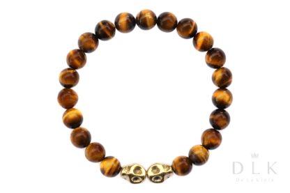 Bransoletka męska - Oko tygrysie z czaszką