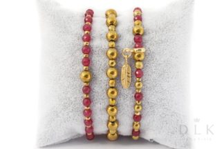 Zestaw bransoletek - Agaty w złocie z piórkiem