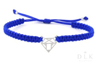 Bransoletka ze sznurka - Niebieska makrama z lisem