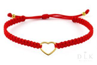 Bransoletka ze sznurka - Czerwona makrama z sercem