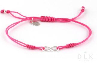 Bransoletka - Różowy sznurek z nieskończonością