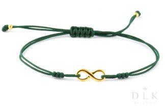"""Bransoletka """"Zielony sznurek z nieskończonością"""""""