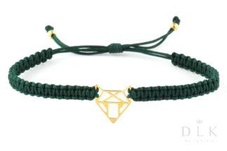 Bransoletka ze sznurka - Zielona makrama z lisem