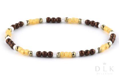 Bransoletka - Brązowe hematyty z żółtymi i białymi koralikami