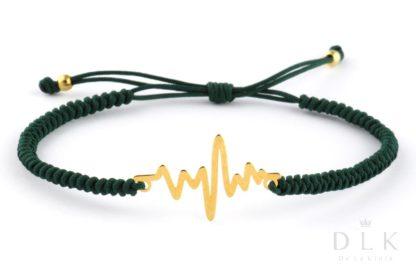 Bransoletka ze sznurka - Zielona makrama z linią życia