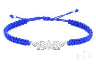 Bransoletka ze sznurka - Niebieska makrama z listkami