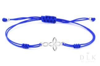 Bransoletka - Niebieski sznurek z krzyżykiem