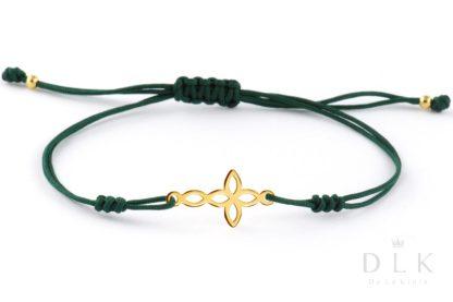 Bransoletka - Zielony sznurek z krzyżykiem