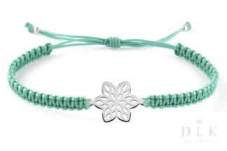 Bransoletka - Szmaragdowa makrama z kwiatkiem