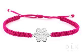 Bransoletka - Rubinowa makrama z kwiatkiem