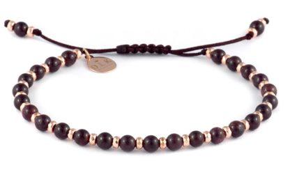 Bransoletka - Granat z hematytem na sznurku