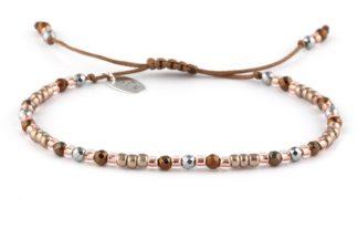 Bransoletka - Beżowe koraliki z hematytem na sznurku