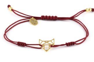 Bransoletka - Bordowy sznurek z lisem