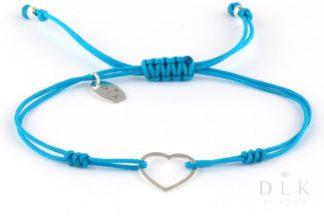 Bransoletka - Turkusowy sznurek z sercem