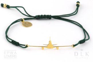 """Bransoletka """"Zielony sznurek ze złotym MD-11"""""""