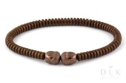 Bransoletka męska Brązowe hematyty z Buddą
