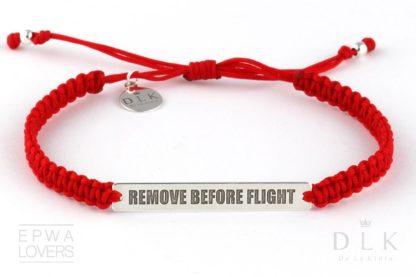 """Bransoletka ze sznurka """"Czerwona makrama z Remove Before Flight"""""""