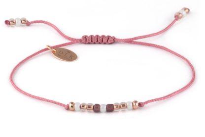 Bransoletka - Koraliki pudrowy róż z hematytem na sznurku