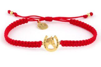 Bransoletka ze sznurka Czerwona makrama ze złotą podkową i koniem