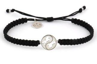Bransoletka ze sznurka Czarna makrama z końmi na Yin Yang