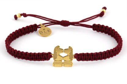 Bransoletka ze sznurka Bordowa makrama ze złotymi końmi skoczkami
