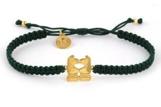 Bransoletka ze sznurka Zielona makrama ze złotymi końmi skoczkami