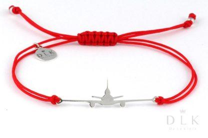 Bransoletka Czerwony sznurek ze srebrnym MD-11