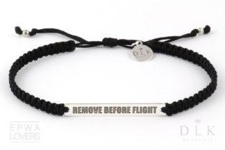 Bransoletka ze sznurka - Czarna makrama z Remove Before Flight
