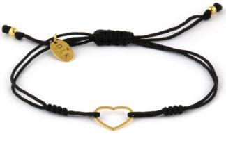 Bransoletka Czarny sznurek ze złotym sercem