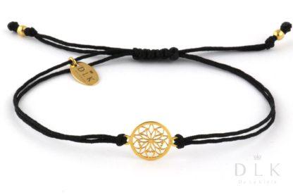 Bransoletka Czarny sznurek ze złotą rozetą