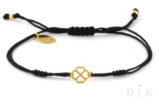Bransoletka Czarny sznurek ze złotą koniczynką w serduszka