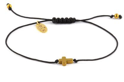 Bransoletka Złoty hematytowy krzyż na czarnym sznurku