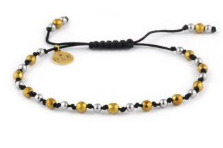 Bransoletka Srebrne i złote hematyty na czarnym sznurku