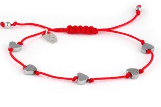 Bransoletka Hematytowe serca na czerwonym sznurku