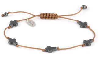 Bransoletka Hematytowe krzyże na beżowym sznurku