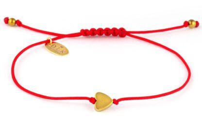Bransoletka złote hematytowe serce na czerwonym sznurku