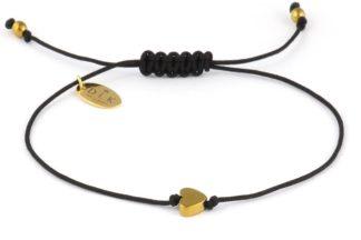 Bransoletka Złote hematytowe serce na czarnym sznurku