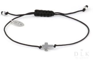 Bransoletka Srebrny hematytowy krzyż na czarnym sznurku