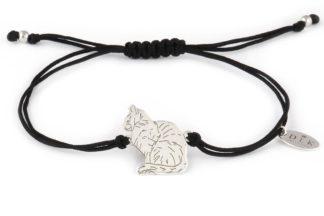 Bransoletka Czarny sznurek ze srebrnym kotem