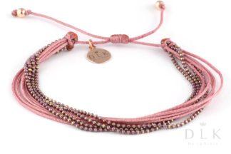 """Bransoletka """"Pudrowo-różowe sznureczki z łańcuszkiem"""""""