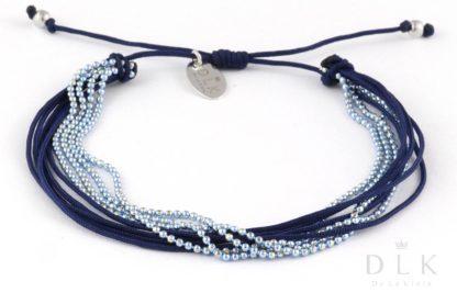 Bransoletka Granatowe sznureczki z błękitnym łańcuszkiem