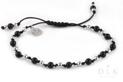 Bransoletka Onyks ze srebrnym hematytem na czarnym sznurku