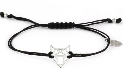 Bransoletka - Czarny sznurek ze srebrną głową lisa/wilka