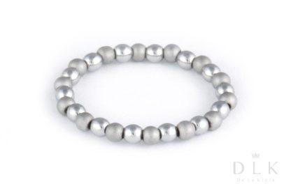 Pierścionek elastyczny ze srebrnych hematytów