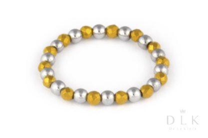 Pierścionek elastyczny ze srebrnych i złotych hematytów