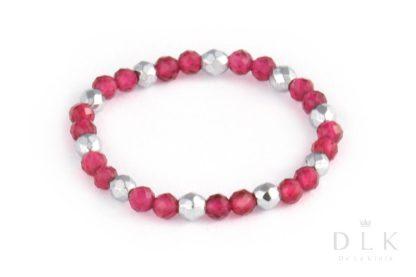 Pierścionek elastyczny z różowych agatów ze srebrnym hematytem