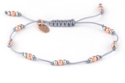 Bransoletka Różowe hematyty na szarym sznurku