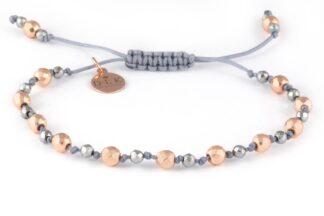 Bransoletka Różowe i srebrne hematyty na szarym sznurku