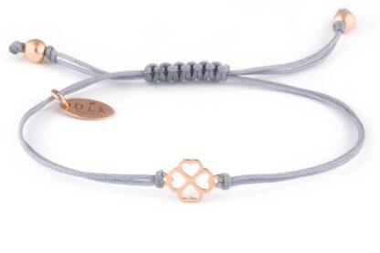 Bransoletka Szary sznurek z koniczynką w serduszka w kolorze Rose Gold