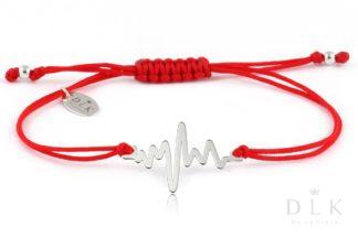 """Bransoletka """"Czerwony sznurek ze srebrną linią życia"""""""